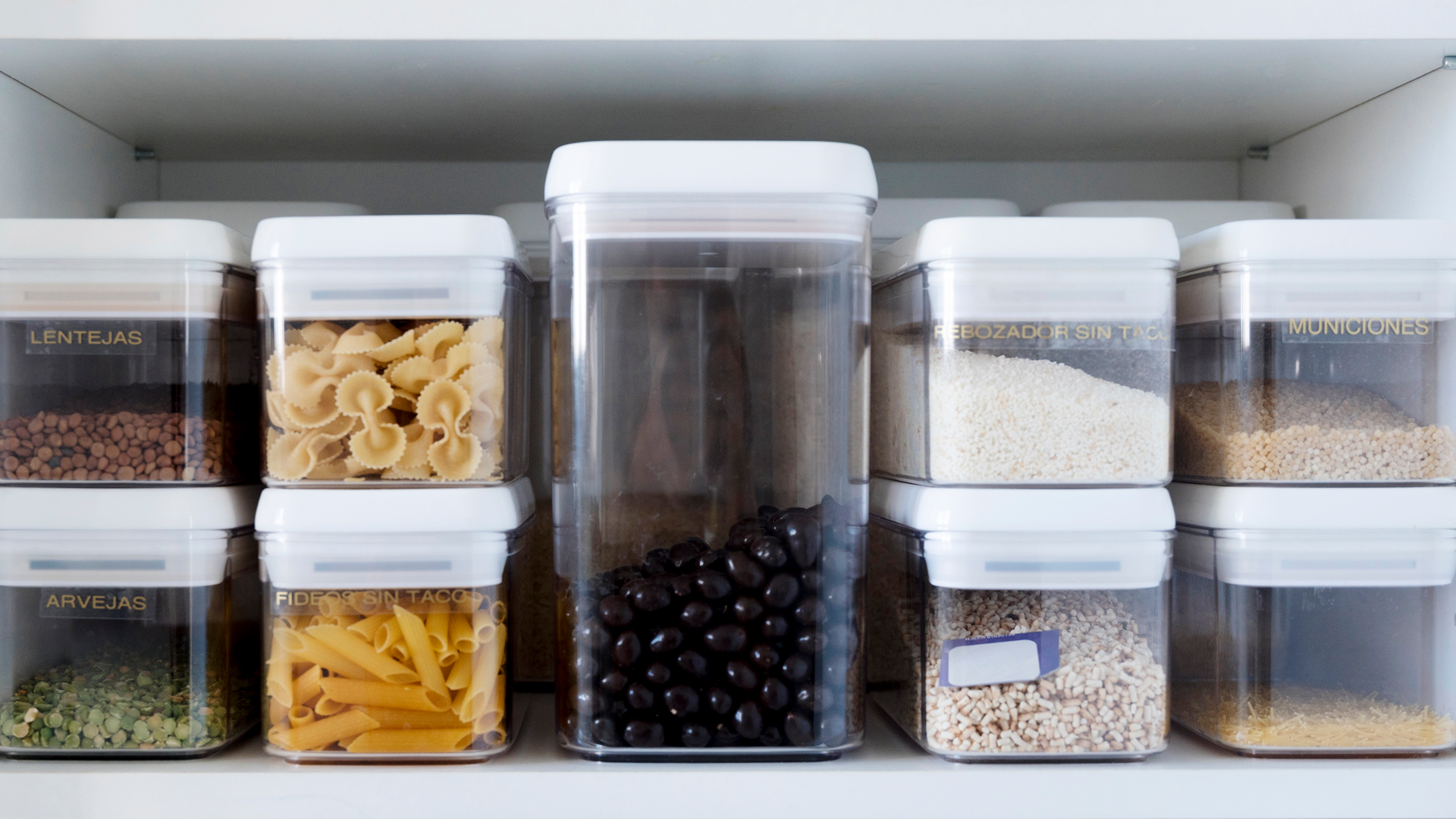 Cupboard food storage bins for an organized kitchen
