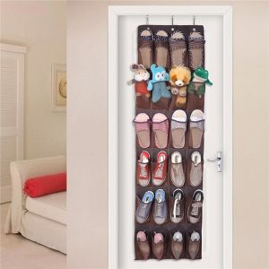 Storage solutions for kids room includes over the door shoe rack used to store stuffed animals